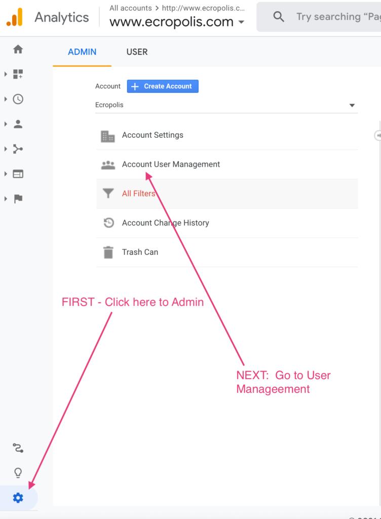 Google Analytics - Add User - First Steps