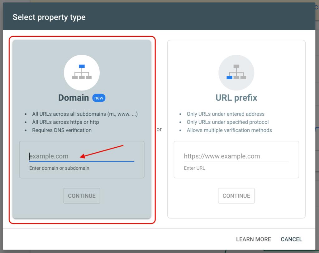 Google Site verification - Select the Domain method